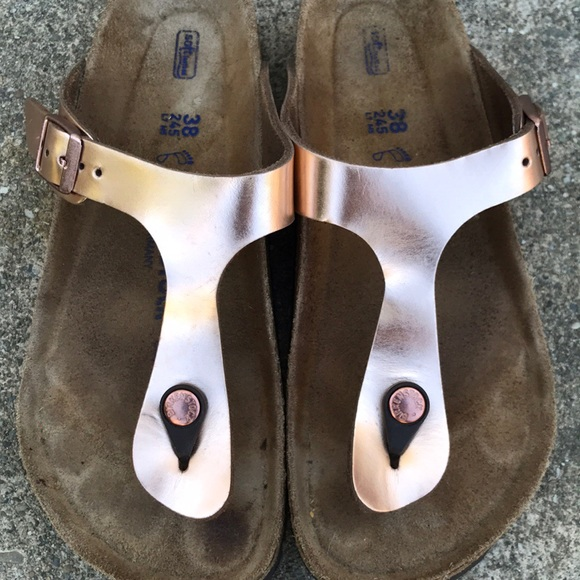 2cb29a40693b Birkenstock Shoes - RESERVED Birkenstock Rose Gold Leather Gizeh SFB